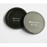 Pixel lens rear cap MC-22B met body cap MC-22L voor Micro Four Thirds